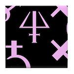Gothic/Goth Alchemy Symbols (black & pink) Tile Co