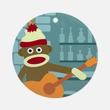 Sock Monkey Acoustic Guitar Ornament (Round)