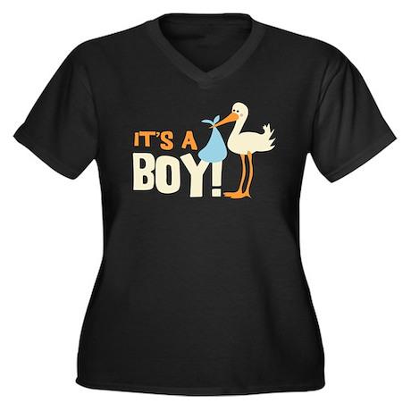 It's a Boy Women's Plus Size V-Neck Dark T-Shirt