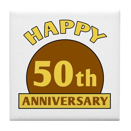 50th Wedding Anniversary Tile Coaster
