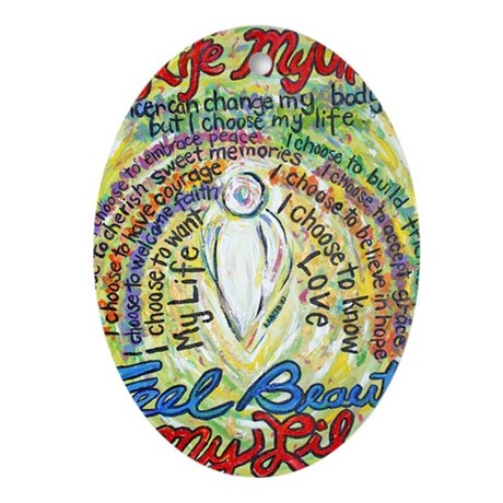 My Life, My Choice White Ange Oval Ornament