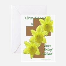 Easter Daffodils on Cross Greeting Card