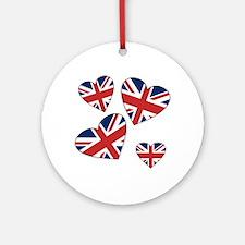 Four British Hearts Ornament (Round)