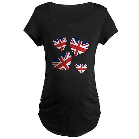 Four British Hearts Maternity Dark T-Shirt