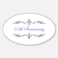 35th Wedding Anniversary Oval Decal