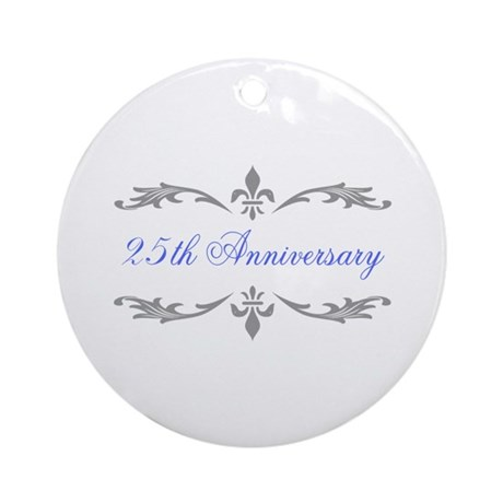 25th Wedding Anniversary Ornament Round By Thepixelgarden