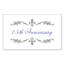 15th Wedding Anniversary Rectangle Decal