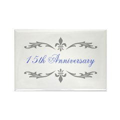 15th Wedding Anniversary Rectangle Magnet