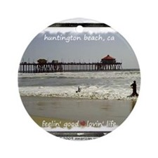 Cute Huntington beach Ornament (Round)