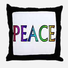 Peace word rainbow Throw Pillow