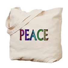 Peace word rainbow Tote Bag