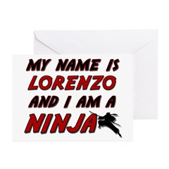 my name is lorenzo and i am a ninja Greeting Cards