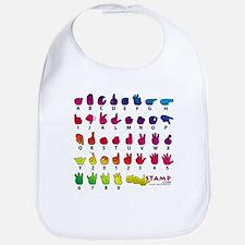 Rainbow Fingerspelled ABC Bib