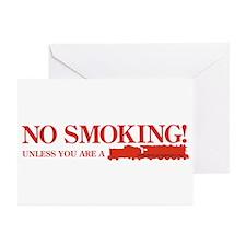 No Smoking Steam Engine Sign Greeting Cards 10