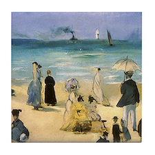 Manet, Beach at Boulogne Tile Coaster