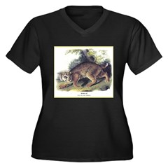 Audubon Bobcat Animal (Front) Women's Plus Size V-
