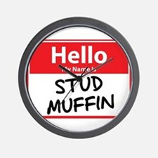 Hello My Name is Stud Muffin Wall Clock