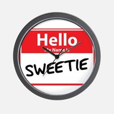 Hello My Name is Sweetie Wall Clock