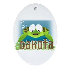 Adorable Dakota SeaTurtle Oval Ornament