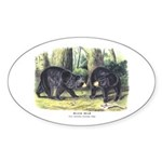 Audubon Black Bear Animal Oval Sticker
