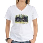 Audubon Black Bear Animal (Front) Women's V-Neck T