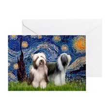 Starry / 2 Bearded Collies Greeting Card