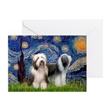 Starry / 2 Bearded Collies Greeting Cards (Pk of 2