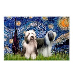Starry / 2 Bearded Collies Postcards (Package of 8