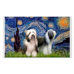 Starry / 2 Bearded Collies Decal