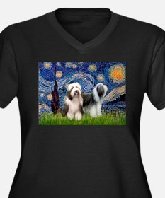 Starry / 2 Bearded Collies Women's Plus Size V-Nec