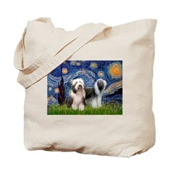 Starry / 2 Bearded Collies Tote Bag