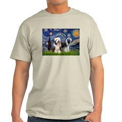 Starry / 2 Bearded Collies Light T-Shirt