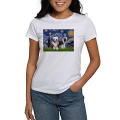 Starry / 2 Bearded Collies Women's T-Shirt