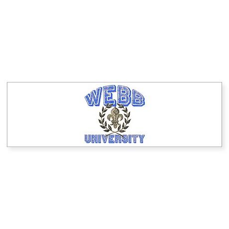 Webb Last Name University Bumper Sticker