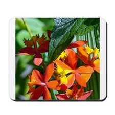 Red FLoral Accents Mousepad