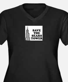 Save The Sears Tower Women's Plus Size V-Neck Dark