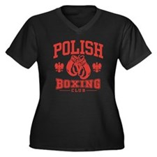 Polish Boxing Women's Plus Size V-Neck Dark T-Shir