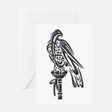 Falcon on Block-blk chrome Greeting Cards (Pk of 1