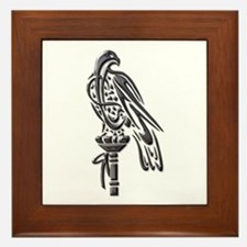 Falcon on Block-blk chrome Framed Tile