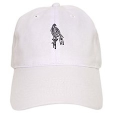 Falcon on Block-blk chrome Baseball Cap