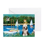 Sailboats / Beardie #1 Greeting Cards (Pk of 10)