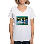 Sailboats / Beardie #1 Women's V-Neck T-Shirt