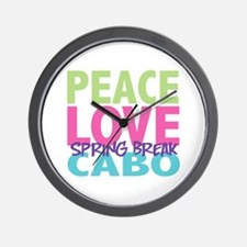 Peace Love Spring Break Cabo Wall Clock