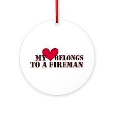 My Heart Belongs to a Fireman Christmas Ornament