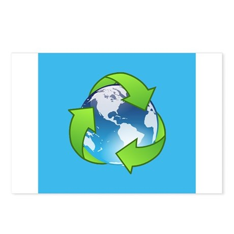 Recycle Logo Earth Day Globe Postcards (Package of