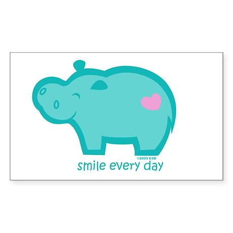 Smile Hippo Rectangle Sticker 50 pk)