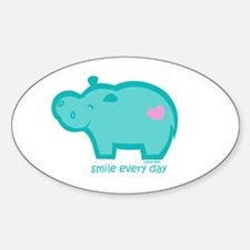Smile Hippo Oval Decal