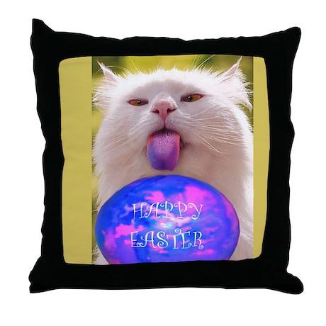Easter Cat Throw Pillow