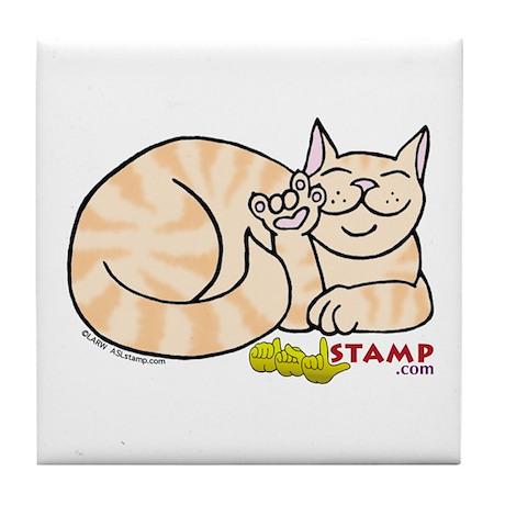 Orange Tabby ASL Kitty Tile Coaster