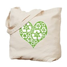 Green Heart Recycle Tote Bag
